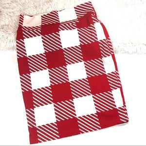 LuLaRoe Red Checkered Pencil Skirt S